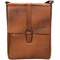 Genuine Leather Sling Bag for Men - Cosmus Florida Tan Leather Bag for iPad