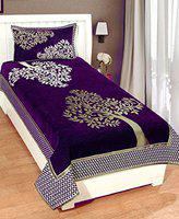 Being Handloom Premium Chenille Single Bedsheet with 1 Pillow Cover
