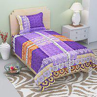 AEROHAVEN 100% Cotton Designer Printed 120TC Single(60'' X 90'') Bedsheet with 1 Pillow Cover