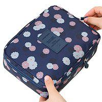 Honestystore Toiletry Bag Wash Bag Multi function Cosmetic Bag Portable Makeup Pouch Waterproof Travel Organizer Bag (Navy Blue Flower)
