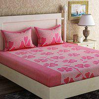 Supreme Home Collective 144 TC Microfibre Floral Design Double Bedsheet with 2 Pillow Covers (Size : 90 x 90 inch, Color: Pink)