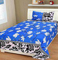 Supreme Home Collective 144 TC Microfibre Single Bedsheet with 1 Pillow Cover - Blue