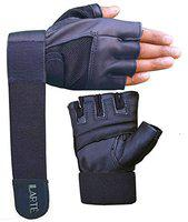 ILARTE Fitness Leather Gym Gloves with Wrist Support (Black)