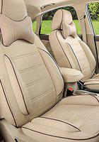 FRONTLINE Accessible Series Beige PU Leather Car Seat Cover for Volkswagen Vento