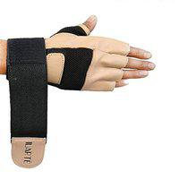 ILARTE Unisex Fitness Leather Gym Gloves with Wrist Support (Light Brown, Large)