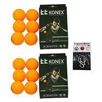 Konex Table Tennis Ball - Yellow (Pack of 12) with SportsHouse Wrist Band