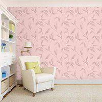 100Yellow Leaf Self Adhesive Peel & Stick Wallpaper For Bedroom (Pvc Vinyl; Pink; 26.7 Sqft)