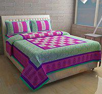 Nanki's Premium Jaipuri Print Cotton Bedsheet with 2 Pillow Covers(90x100)