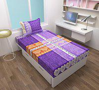 Homefab India 140 TC Cotton Single Bedsheets with 1 Pillow Cover - Modern, Purple