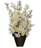 Sofix Supreme Artificial Flowers with Designer Wooden Pot Flowers for Home Decor Artificial Flower Plant - 17 inch Flowers (Pack of 1) (White)