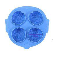 Connectwide Brain Shape Silicone Freeze Ice Cube Tray Cookies Chocolate Soap Baking Mould Brain Ice 3D Silicone Mold- Cake, Chocolate, Cooking Halloween Mould Tools Tray- 4 slots Halloween Party Novelty Silicone Jello Chocolate Mold Ice Cube Tray.Color : Random