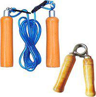Monika Sports Wooden Hand Strengthener Grip with Wooden Skipping Rope (Pack of 2)