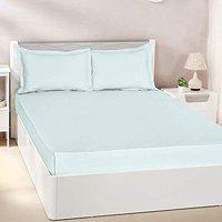 Pizuna Cotton 400 Thread Count Solid Light Blue 100% Long Staple Cotton Satin Queen Size Bed Sheet with 2 Pillow Covers