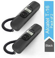 Alcatel T-16 Black Corded Landline Phone with Caller ID and Hands-free Function (Pack of 2)