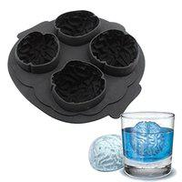 Connectwide Brain Shape Silicone Freeze Ice Cube Tray Cookies Chocolate Soap Baking Mould Brain Ice 3D Silicone Mold- Cake, Chocolate, Cooking Halloween Mould Tools Tray- 4 slots Halloween Party Novelty Silicone Jello Chocolate Mold Ice Cube Tray. (Black)
