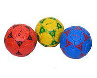 Cricket World Multi-Color Sports Street Match Recreational Regular Training & Playing PRO World Pack of 3 Synthetic Rubber Footballs Hand Stitched Size No. 3 Water Resistant Adult/Men/Senior