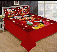 HOMECRUST 3D Digital Print Velvet King Size bedsheet Double Bed with 2 Pillow Covers