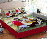 HOMECRUST 3D Digital Print Velvet King Size bedsheet Double Bed with 2 Pillow Covers - Kids Playing