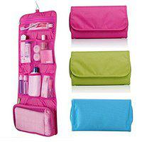Saiyam Portable Folding Travel Organizer Toiletry Bag with Hanging Hook (Assorted Color)