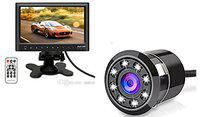 7 inch MP5 Player Video Dashboard Monitor with 8 LED Night Vision Camera and Car Audio FM Transmitter SD USB Flash Built-in Speaker for Honda Jazz 2018