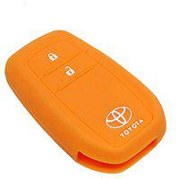 Lowrence Silicone Car Key Cover for Innova Crysta (Orange)