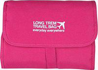 Divinz Small Roll up Hanging Toiletry Bag with Compartments for Women, Pink