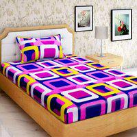 Home Elite 144 TC Printed 100% Cotton Single Bedsheet with 1 Pillow Cover, Multicolor
