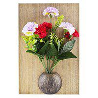 ARCHIES Artificial Flowers Bunch in a Pot Attached with Wall Hanging, Table Frame with Stand for Home Decoration and Gifting on Valentines Day, Mothers Day, Daughters Day, Womens Day (Number of Flowers - 7)