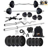 SPORTO FITNESS 20Kg Weight Plates,5Ft Rod,3Ft Curl Rod,2D-Rods Home Gym Dumbell Set.