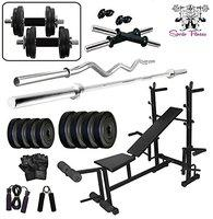 SPORTO FITNESS 26 kg PVC Weight with 8 in 1 Bench Combo Set 3FT CURL BAR + 5FT Plain BAR + Branded Shipper Free