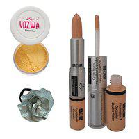 Vozwa Golden Eyeshadow Shimmer Powder, Foundation & Concealer Double Action and Band