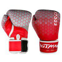 Hitman GB04865_8 Synthetic Leather Force Printed Punching Gloves, 8 Oz (Red)