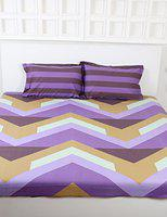 Raymond Home Camphor 144 TC Cotton Double Bedsheet with 2 Pillow Covers - Purple