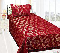 LE HAVRE Vancouver Range of Polycotton & Silk Single Bed Bedsheet with 2 Pillow Covers, Maroon