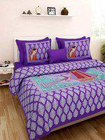Rajdevi Jaipur Prints Rajasthani Jaipuri 100% Cotton Bedsheet Double Bedsheet with Two Pillow Covers Purple Color