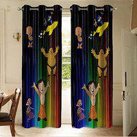 Pridhi Premium Digital Printed Soft Touch Velvet Fabric 2 Piece Long Door Curtain-9ft