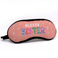 Indigifts Sleepy Sister Quote Printed Pink Eye Mask for Women (7.8X3.3 inches; Pink and White)