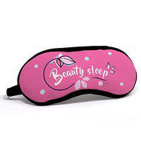 Indigifts Beauty Sleep Quote Printed Eye Mask (Pink, 7.8X3.3 Inches)