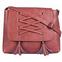 Bpbag1 Maroon Pu Self Design Sling Bag For Women (BP-BAG17)