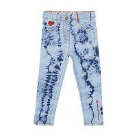 Tales & Stories Light Blue Cotton Elastane Embroidered Slim Fit Clean Look Jeans for Baby Girls