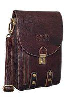 BRAND LEATHER Casual|Business|Travel use Genuine Leather Cross Body Sling Bag with Multi Pockets (BROWN)