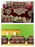 URBAN HOME Velvet 500 TC Diwan 1 Single bedsheet with 5 Cushion Covers 90 x 58-, 16 x 16 and 32 x 18-inches(Brown) (Maroon)