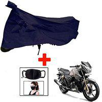 Riderscart Waterproof Taffeta Bike Body Cover for Tvs Apache 180 with Storage Bag & Pollution Mask Combo (Blue)