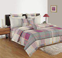 Swayam 180 TC Geometrical Print Cotton Single Bed Sheet with 1 Pillow Cover - Off White, Purple-(13027-SBS)