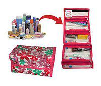 atorakushon Pink Fabric Cosmetic Organizer Toiletry Kit Make-Up Pouch Jewellery Pouch for Unisex Pack of 1