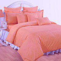 Belive-Me 210 tc Premium Striped 100% Cotton Pink Bedsheet with 2 Pillow Covers 108x108 inch King Size - Pink Colour