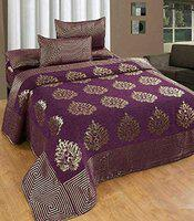 Purav Light Premium Velvet Bedsheets for Double Bed with 2 Pillow Covers, King Size Bedsheet - Purple, 90x100 Inch