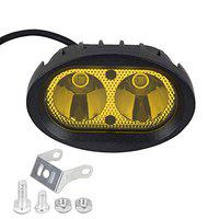 AllExtreme EX2OFY1 2 LED Oval Projector Fog Light Auxiliary Waterproof Spot Beam Off-Road Driving Lamp for Motorcycle and Cars (20W, Yellow Light, 1 PC)