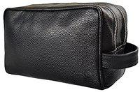 Rustic Town Leather Travel Toiletry Bag - Shaving Kit for Men (Black)