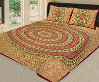 Lakshita Enterprises Mandala Tapestry Design 100% Double Cotton Modern Round Bedcover/Bedsheets with Two Pillow Cover King Size